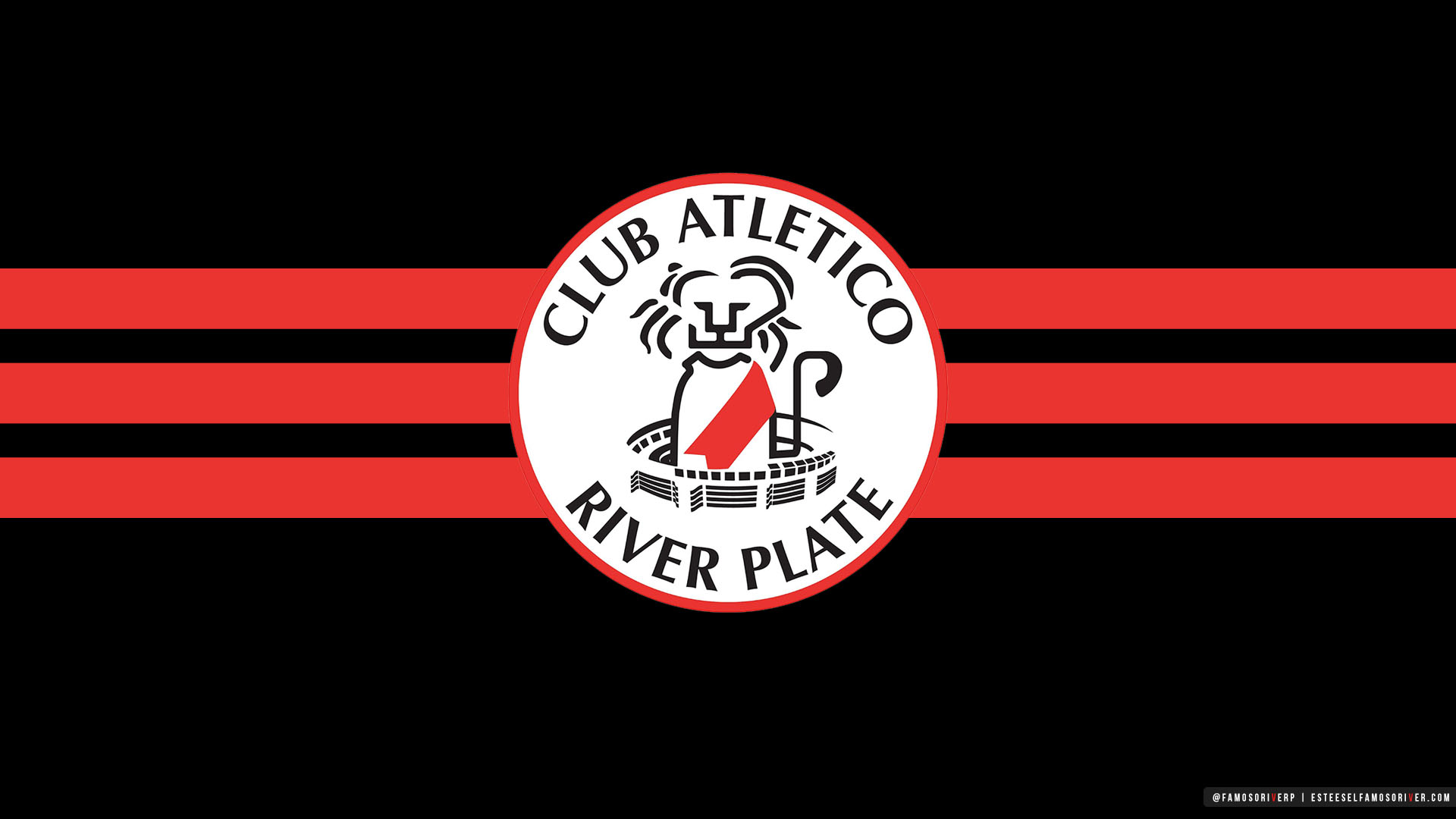 imagenes-de-River-Plate-para-fondos-de-pantalla-wallpaper-de-River-Escudo River Plate - León Vintage - Años 80 - Década del 80 - Caloi - Fondo Negro